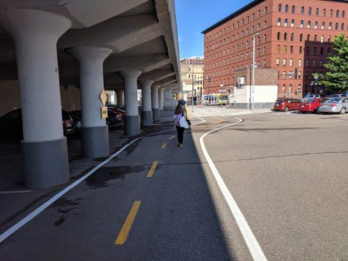 Pedestrian in bike lane