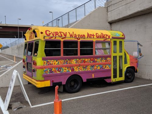 Colorfully decorated art bus