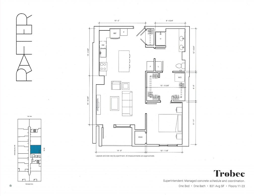 Rafter Apartments Trobec 831 Square Feet Floorplan