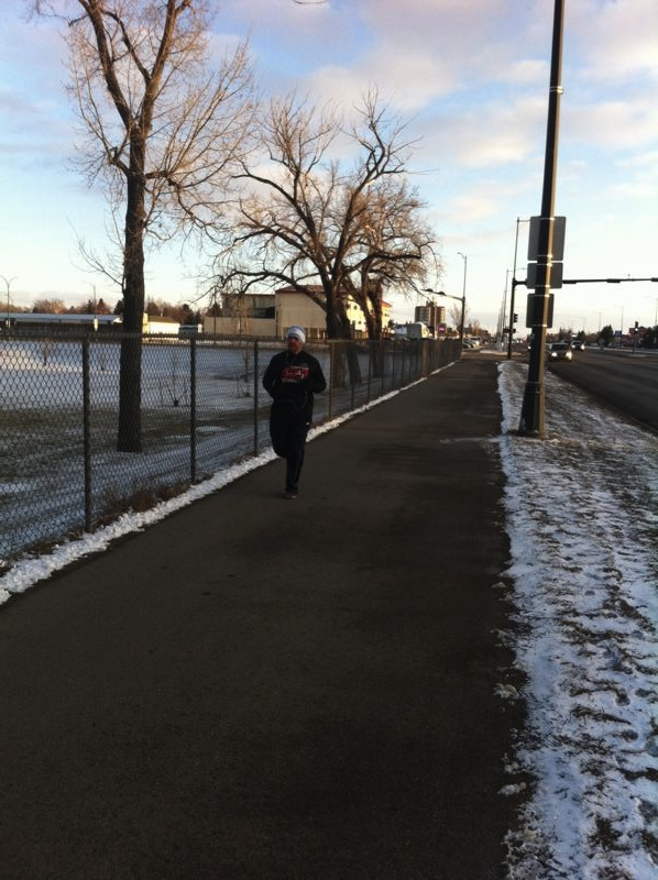 First CNOY walker on the route (he's actually running! :) )