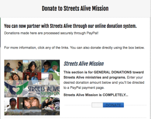 Donate to Streets Alive Mission online