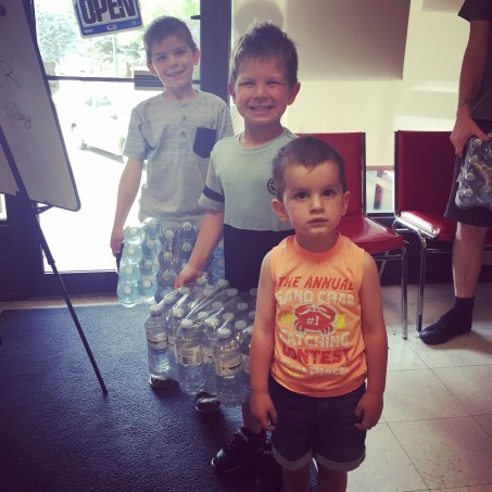 This is Malachi, Asher, and Elijah who brought us water with their mom, Jackie.