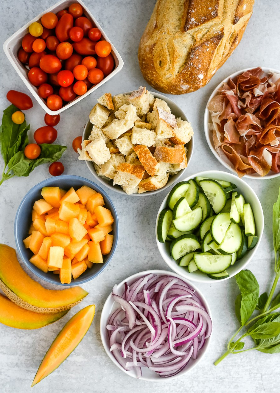 Summer Panzanella Salad with Cantaloupe & Prosciutto Recipe