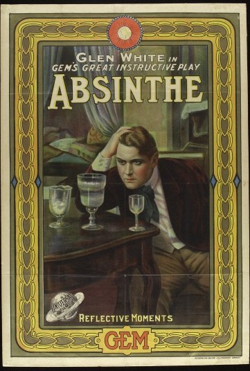 L0038329 An absinthe addict eyeing three glasses on a table;
