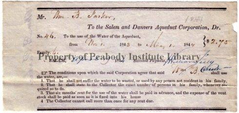 Water Receipt 1844