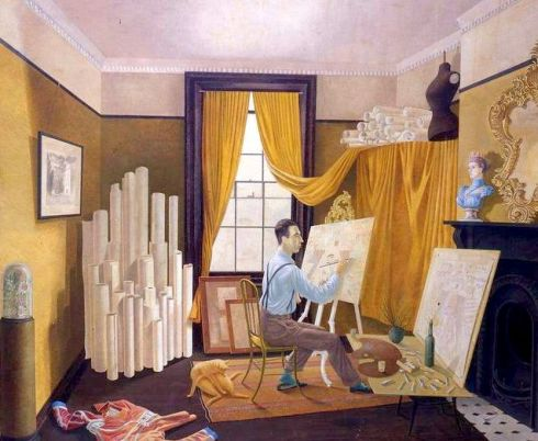 edward-bawden-working-in-his-studio-as-painted-by-ravilious 1930