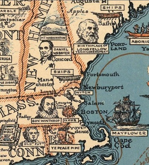 Pictorial Map US Tyng 1929 Rumsey Map Collection