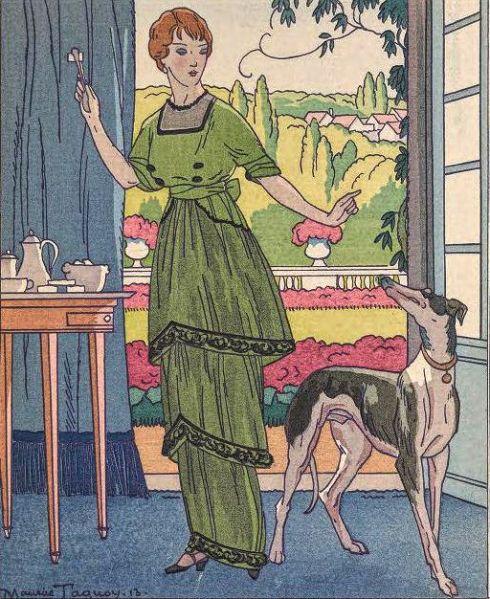 Green dress Gazette de BonTon Worth 1912