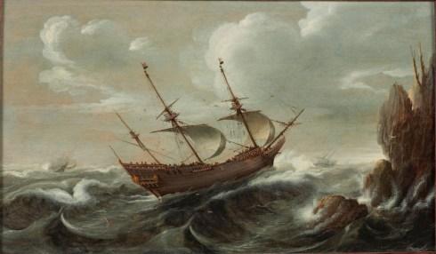 Pinnace Cornelis_Verbeeck_-_Een_Nederlandse_pinasschip_op_een_woelige_zee