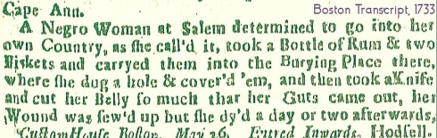 Women of Salem Slavery Suicide Boston Gazette May 29 1733 (3)