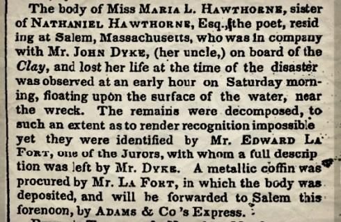 Hawthorne NYT Aug 2 1852