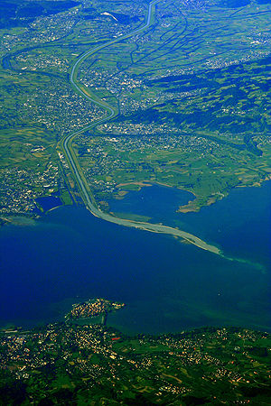 Alpine Rhine delta at Lake Constance