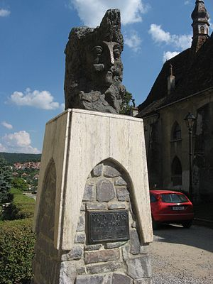 English: The statue of Vlad Tepes in his birth...