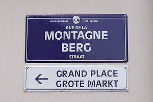 English: Bilingual signs in Brussels