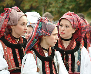 Croatian girls in folklore costume in Hungary