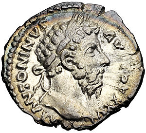 English: Denarius featuring emperor Marcus Aur...