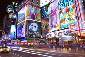 Broadway show billboards at the corner of 7th ...