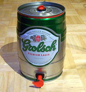 English: mini-keg of Grolsch beer
