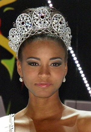 Miss Universe 2011, Leila Lopes, at press conf...