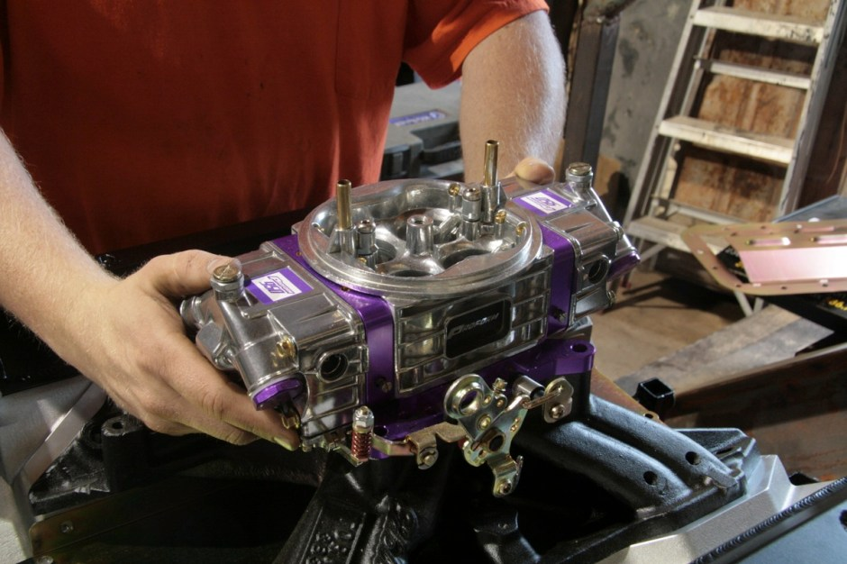 We also installed the Proform 950-CFM carburetor(pn 67202). The Proform race series is a chokeless design for better flow, has billet metering blocks and throttle bas for reliable power. Best of all, it is USA made. Soon Evil Betty will be pulling the Royal Scamp down the 1320 with brute force.