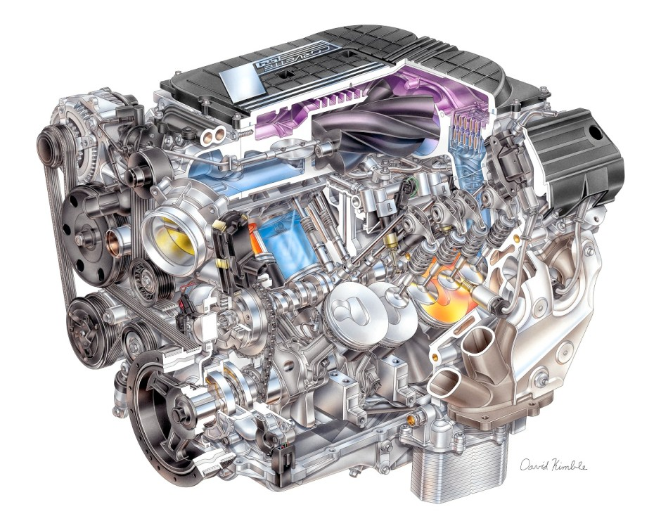 Cutaway rendering of the all-new LT4 supercharged V8 engine for the 2015 Corvette Z06. Seen in the rendering is componentry that makes the new engine one of the most technologically advanced V8s in the industry including an advanced supercharger, direct fuel injection, Active Fuel Management (cylinder deactivation), continuously variable valve timing and a variable displacement oil pump.