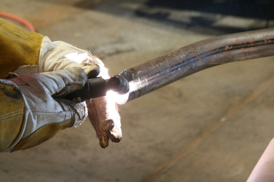 """12. Using the ESAB plasma torch, we made quick work of the 1 5\8""""x0.083"""" mild steel tubing."""