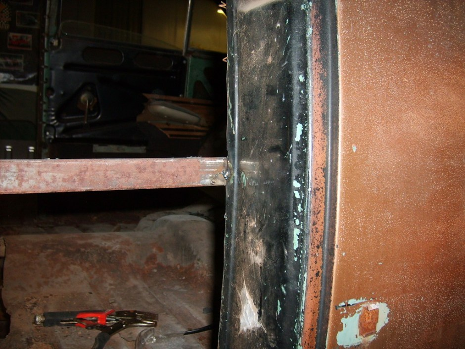 2. The brace was welded to the inside edge of the door jamb. Just a few tack welds to hold everything together.