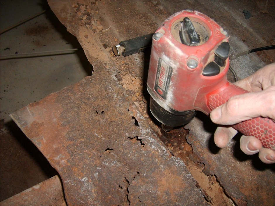 3. The floor bolts were very rusted, but they actually came out with the help of an impact wrench.