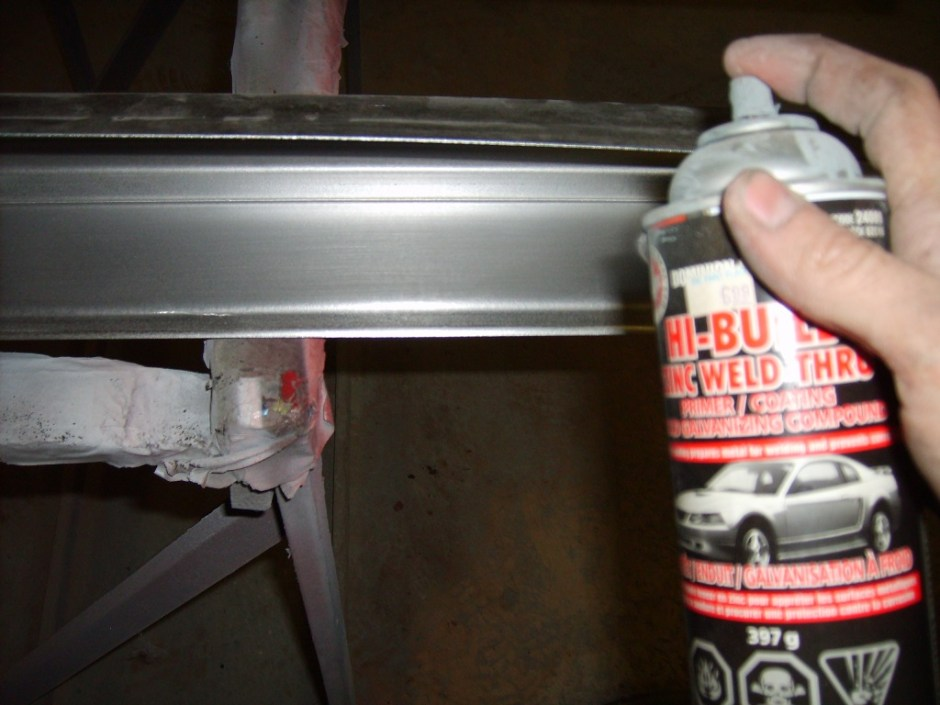 10. The edges of each panel were then sprayed with a weld-thru primer. This protects the metal and new welds from rusting after installation.