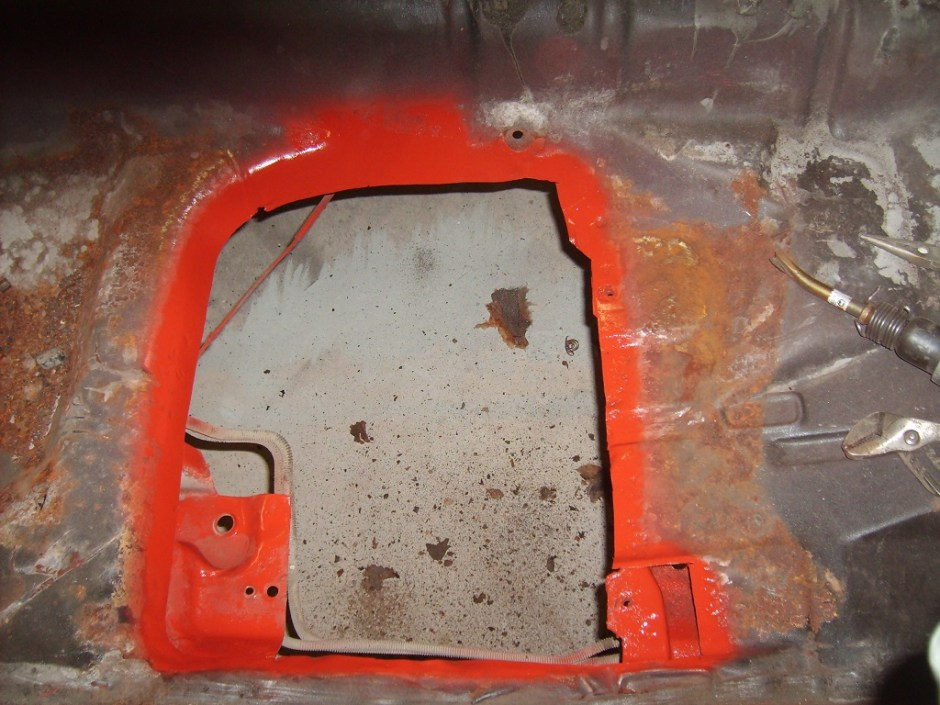 8. The interior section of the floor pan was sprayed as well.
