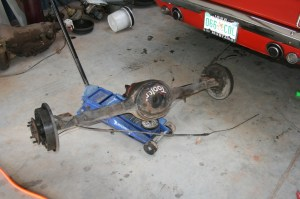 3.The old rear end slid out on the jack.