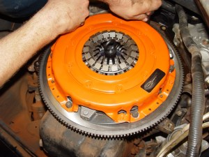 4.The Centerforce clutch pack and flywheel bolted right up. If you purchase the unit as a balanced kit (the pressure plate and flywheel would be shipped bolted together), a mark needs to be placed on the pressure plate and flywheel, notating the proper alignment.
