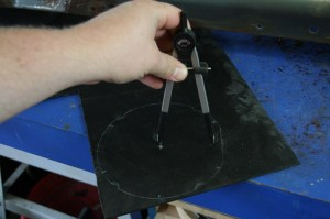 13.The ABS was marked for center and a compass was used to mark the center hole for the gauge.
