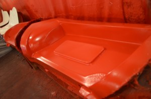 Once sprayed with gel coat, the mold must sit for 4 hours for the gel coat to cure. Gel coat is a very hard and durable. It also seals the fiberglass from UV rays and provides a smooth surface so that the fiberglass weave does not show through.
