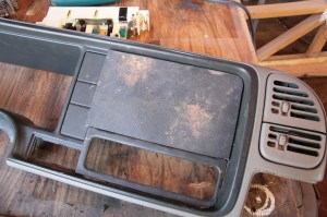 06.Then I cut a piece of ABS plastic to fit the dash bezel. You could fill the entire thing, but that is not necessary.