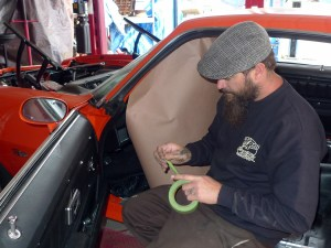 HR&CS fabricator Jeremy has already seen the movie, read the instructions and installed a good number of these kits before, so this job will move along quickly. Before the sparks begin to fly, it seems worth mentioning that caution should be taken to protect the car's glass. How many of us have learned this the hard way?