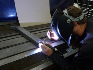 For the TIG-welding tasks at hand, the shop's Miller Syncrowave 200 is Jeremy's machine of choice.