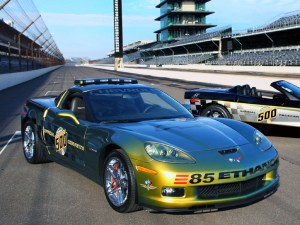 History will be made at the 2008 Indianapolis 500 when a pair of distinctive yet highly differentiated Corvette models will serve as the official pace cars Ð one highlighting Chevrolet's commitment to fuel solutions and the other marking 30 years of Corvette's pace car heritage. The Corvette Z06 E85 concept (left) runs on E85 ethanol fuel and will be driven during the raceÕs pace lap by two-time Indianapolis 500 champion Emerson Fittipaldi. The Corvette 30th Anniversary Pace Car honors the 1978 model - the first Corvette to pace the field at the Indy 500. (Photo by Ron McQueeney for General Motors)