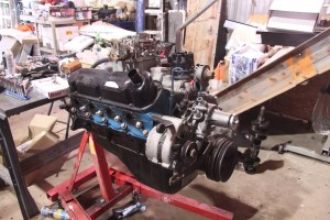 27.This is the final assembly of the 302. We have a set of Hooker headers for the engine, those will go on right before it goes in the car.