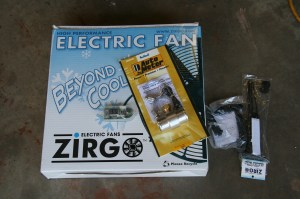 """8. Since we had to use an electric fan, we opted for the top-dog 16"""" 3000-CFM ultra thin fan. We also went for the Zirgo adjustable controller."""