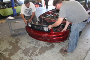 2. We pulled the hood for access, but it is not required. Removing the front bumper cover, however, is necessary.