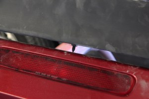 08.The new spoiler from MRT has pointed studs. This is particularly helpful in setting the drill points. Once positioned, pressure above the studs will mark the deck lid.