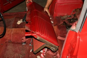 7.Then the folding section is removed. Be careful if you are not replacing the upholstery, this rear seat looked almost as if it had never been sat on.