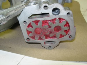 24.The high-volume pump gears were installed in the timing cover. The gears must be packed in assembly lube or the pump will never prime. Buick 455 builders might stay away from high volume oil pumps, but there is no problem using one on a 350.