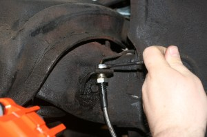 26.The new braided line mounted right up to the old lines. The kit came with new line, but we chose to use the originals. Had we replaced the master cylinder, we would have used the new line.