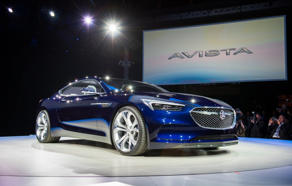 Buick unveils the Avista concept Sunday, January 10, 2016 on the eve of the North American International Auto Show in Detroit, Michigan. The Avista concept 2+2 coupe sports a 400-horsepower twin-turbocharged V-6. Its uninterrupted body lines stretch front to rear, suggesting motion – resembling Buick's design language introduced on the Avenir concept and carried into production on the 2017 LaCrosse. (Photo by Steve Fecht for Buick)
