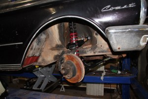24. The last thing we need is to attached the tie-rods and the sway bar. This Comet is now ready for the track. By lowering the shock mount to the lower arm, the suspension has much better stability, and it reduces the flex in the upper sheet metal too.