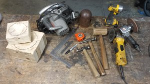 Some of the basic tools needed as well as the finished shaping blocks.
