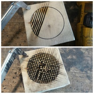 """Using the angle grinder with standard metal cut-off wheel (Note: Using power tools for anything other than their intended purpose or without their guards attached is not recommended), cut slices about 1/8"""" apart down the entire bowl area, making sure to stay within the circle. Continue to cut more grooves perpendicular to the original. Note: Again, the goal is to show that everything can be done with whatever tools you might have laying around. Most of you probably have an angle grinder. Because this is not a wood-cutting disc, this causes MASSIVE amounts of smoke and should be completed outside or in an EXTREMELY well ventilated space. Better yet, use a cordless mini circular saw if you have one."""