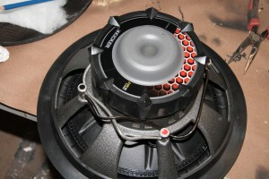 """37. The CVR12"""" sub we used is a dual-voice coil woofer. We wired each + terminal to each other and each – terminal together, then ran a single + and - wire to the subwoofer from the enclosure. This created a 2-ohm load for the subwoofer channel of the Kicker 5-channel amp, which is about perfect for maximizing power output and reliability."""